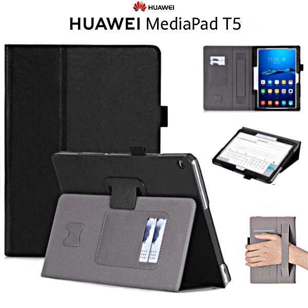 COVER CUSTODIA per Huawei MediaPad T5 10 in VERA PELLE NERO con PORTA TESSERE