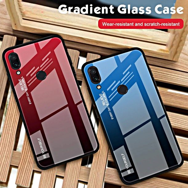COVER per Xiaomi Redmi Note 7 6 5 / Pro Gradient Glass con RETRO VETRO TEMPERATO