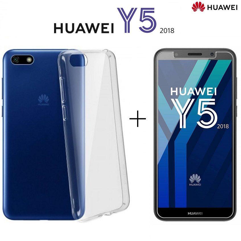 COVER per Huawei Y5 2018 TPU PELLICOLA VETRO TEMPERATO